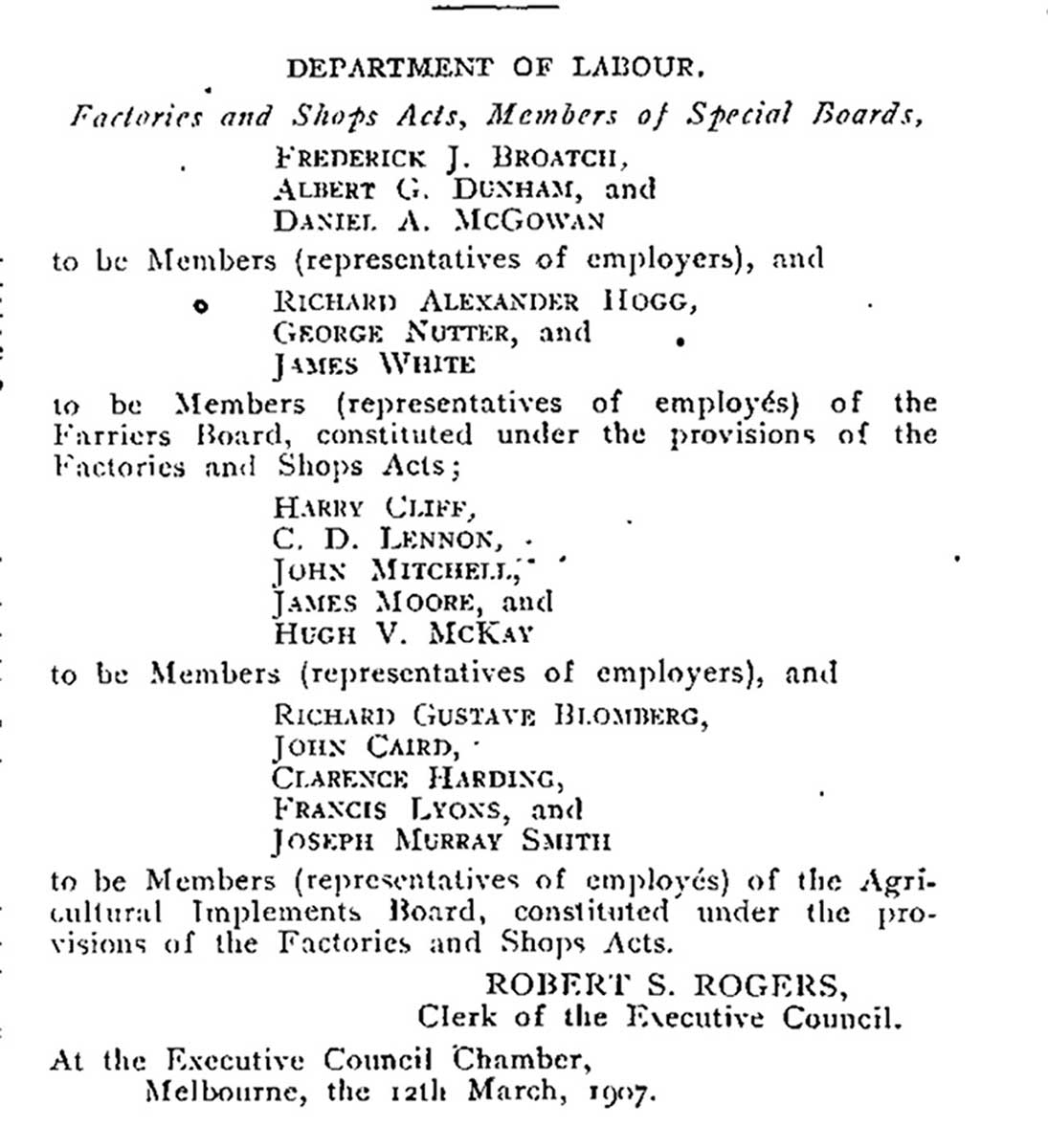 List of members of the Agricultural Implements Wages Board, 1907. - click to view larger image