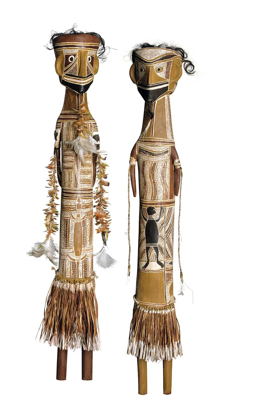 Yalangbara: Art of the Djang'kawu. Mawalan 1 Marika. Djang'kawu, Ancestral Being of the Dhuwa Moiety Carvings 1960. Art Gallery of New South Wales Collection, Sydney. - click to view larger image