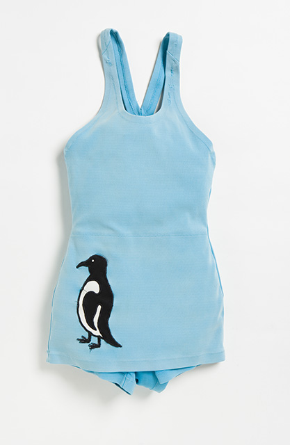 Light-blue one-piece swimsuit with an image of a penguin on the bottom left hand side. - click to view larger image