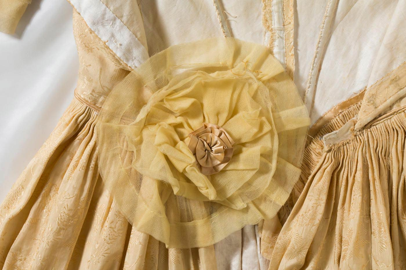 Gold silk chiffon and satin rosette detail. - click to view larger image