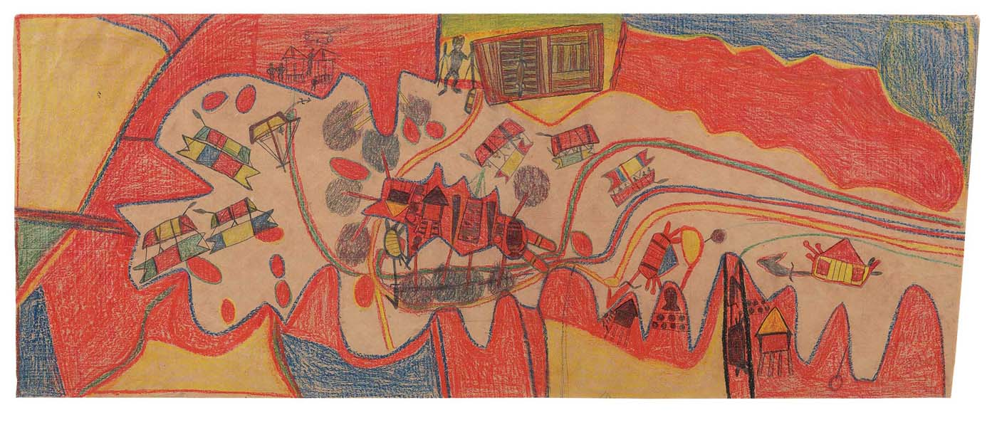 A coloured map drawn by Mawalan 1 Marika. The map is in landscape format ie the horizontal sides are longer than the vertical sides. The map depicts a settlement near some water. Roads and houses are represented. The surrounding land is divided up into sections coloured orange or yellow. Parts of the nearby water are coloured blue. The map appears to have been drawn using graphite and coloured pencils.