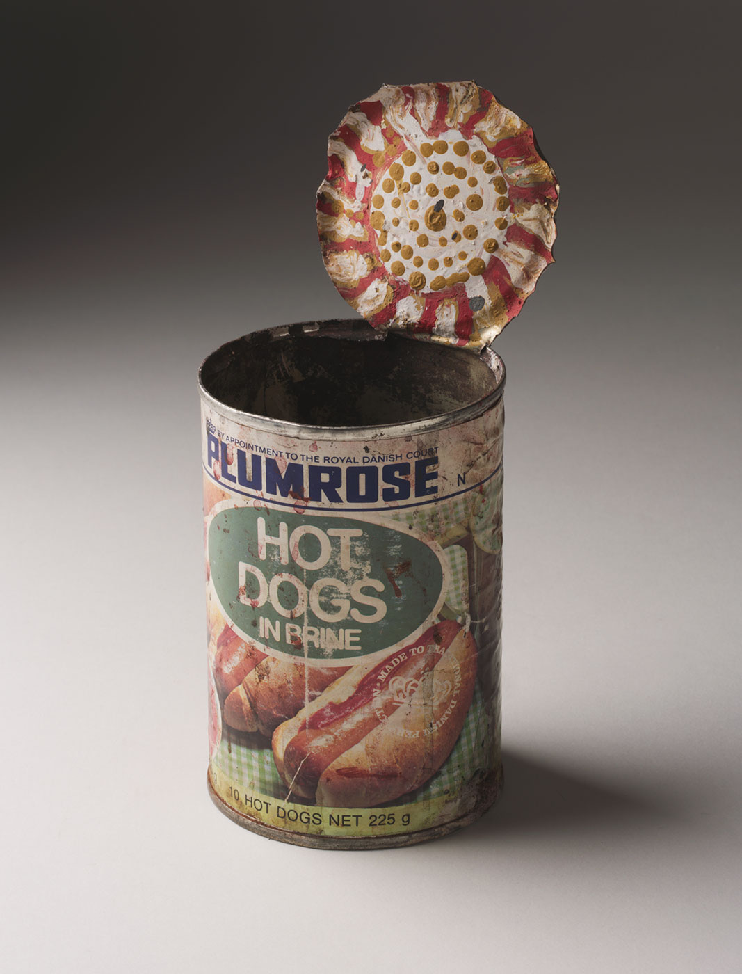 Tin food can with painted lid. - click to view larger image