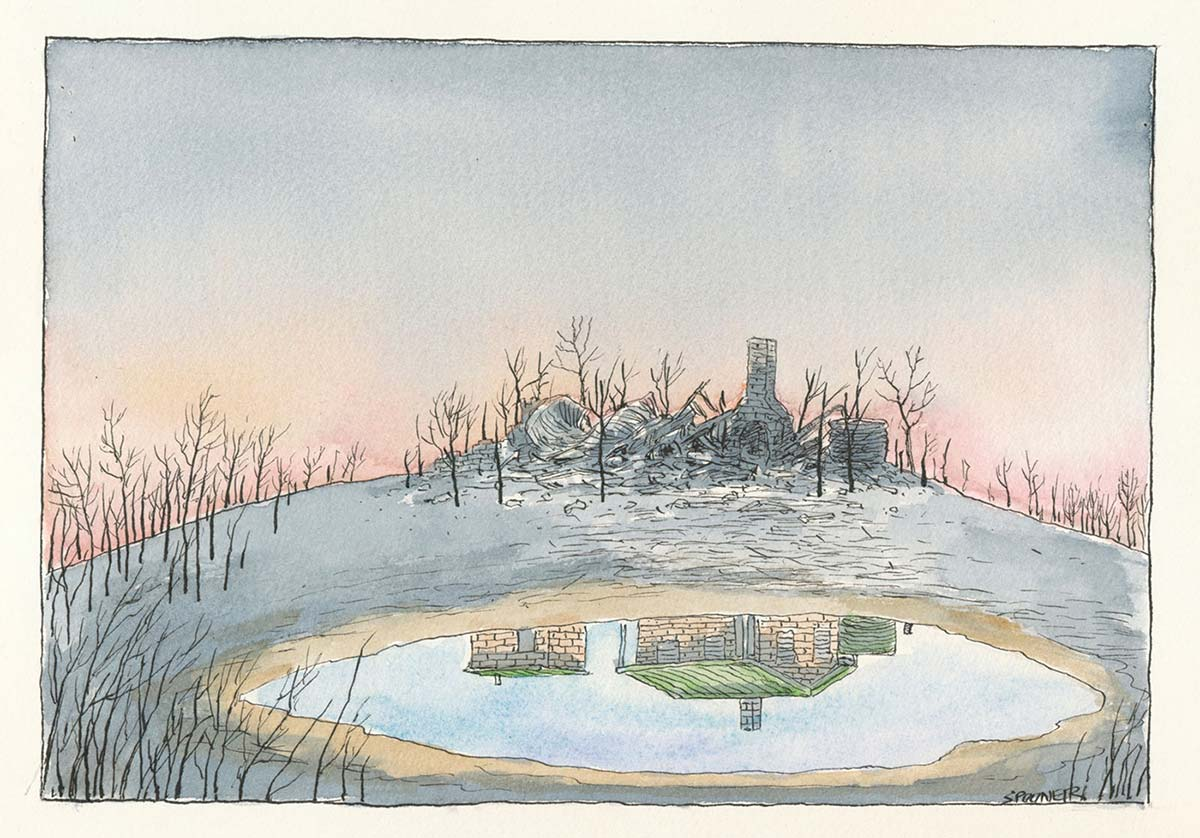 A colour cartoon depicting burnt countryside and remnants of a razed house, collapsed around the still-standing brick fireplace, reflected in a small dam. The reflection shows the brick house as it stood before being destroyed by fire. - click to view larger image