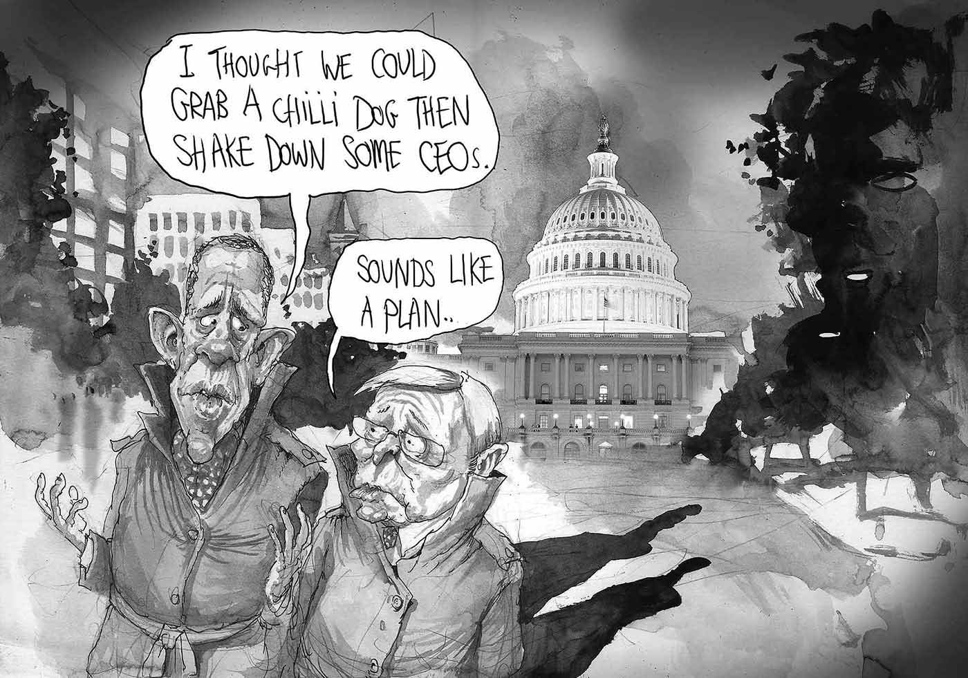 A black and white cartoon depicting Barak Obama and Kevin Rudd dressed in trenchcoats and walking away from the White House at night. President Obama says, 'I thought we could grab a chilli dog then shake down some CEOs'. Mr Rudd responds, 'Sounds like a plan'. - click to view larger image