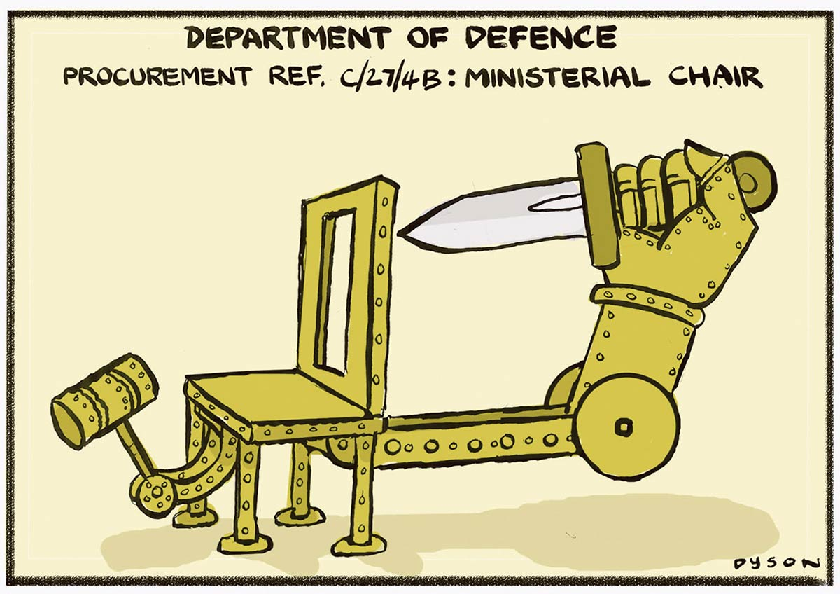 A colour cartoon depicting an imaginary chair for the Minister of Defence. The chair has two attachments. One is a large arm extending from the back of the chair. Attached to the arm is a mechanical hand that holds a large knife. There is an opening in the back of the chair that allows the knife to enter the back of a person sitting in the chair. The other attachment is a curved arm extending from the front of the chair. At the end of the arm is a sledgehammer, facing back toward the chair. At the top of the cartoon is written 'Department of Defence Procurement Ref. C/27/4B: Ministerial Chair'. - click to view larger image