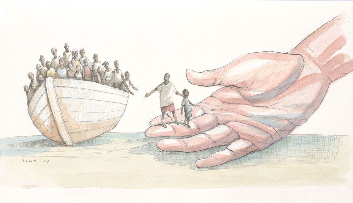 A colour cartoon depicting a wooden boat overloaded with what appear to be refugees or asylum seekers. The boat is beached and leans to the left. All of the occupants are dark-skinned. A large white-skinned hand reaches down toward the boat from the right of the cartoon. Two of the boat's occupants have stepped from the boat onto the upturned hand. Some of the other occupants are preparing to do the same. - click to view larger image
