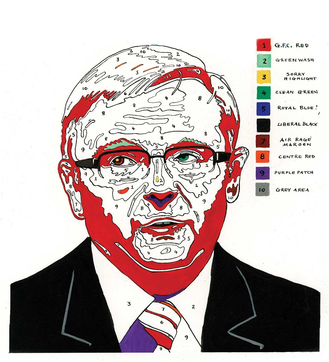 A 'paint by numbers' colour image of Kevin Rudd. There are large areas of red on his face and hair. Some small areas of green, purple and yellow are visible. His jacket and glasses are black. To the right of his head are 10 colour squares arranged in a column. Each square is numbered. To the right of the squares are written colour descriptions. These are, from top to bottom: G.F.C. Red, Green Wash, Sorry Highlight, Clean Green, Royal Blue, Liberal Black, Air Rage Maroon, Centre Red, Purple Patch and Grey Area. - click to view larger image