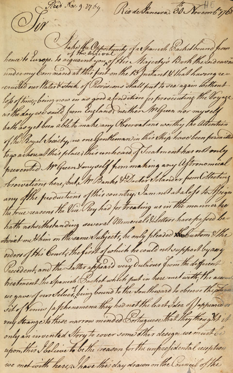 Letter from Lieutenant James Cook, Rio de Janeiro, to Charles Morton, Secretary of the Royal Society 30 November 1768. - click to view larger image
