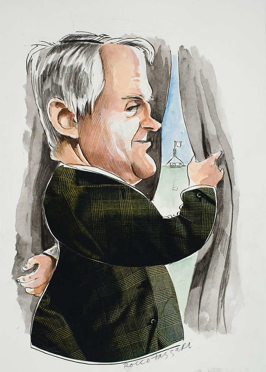 Cartoon of Malcolm Turnbull looking out of his window towards Parliament House - click to view larger image