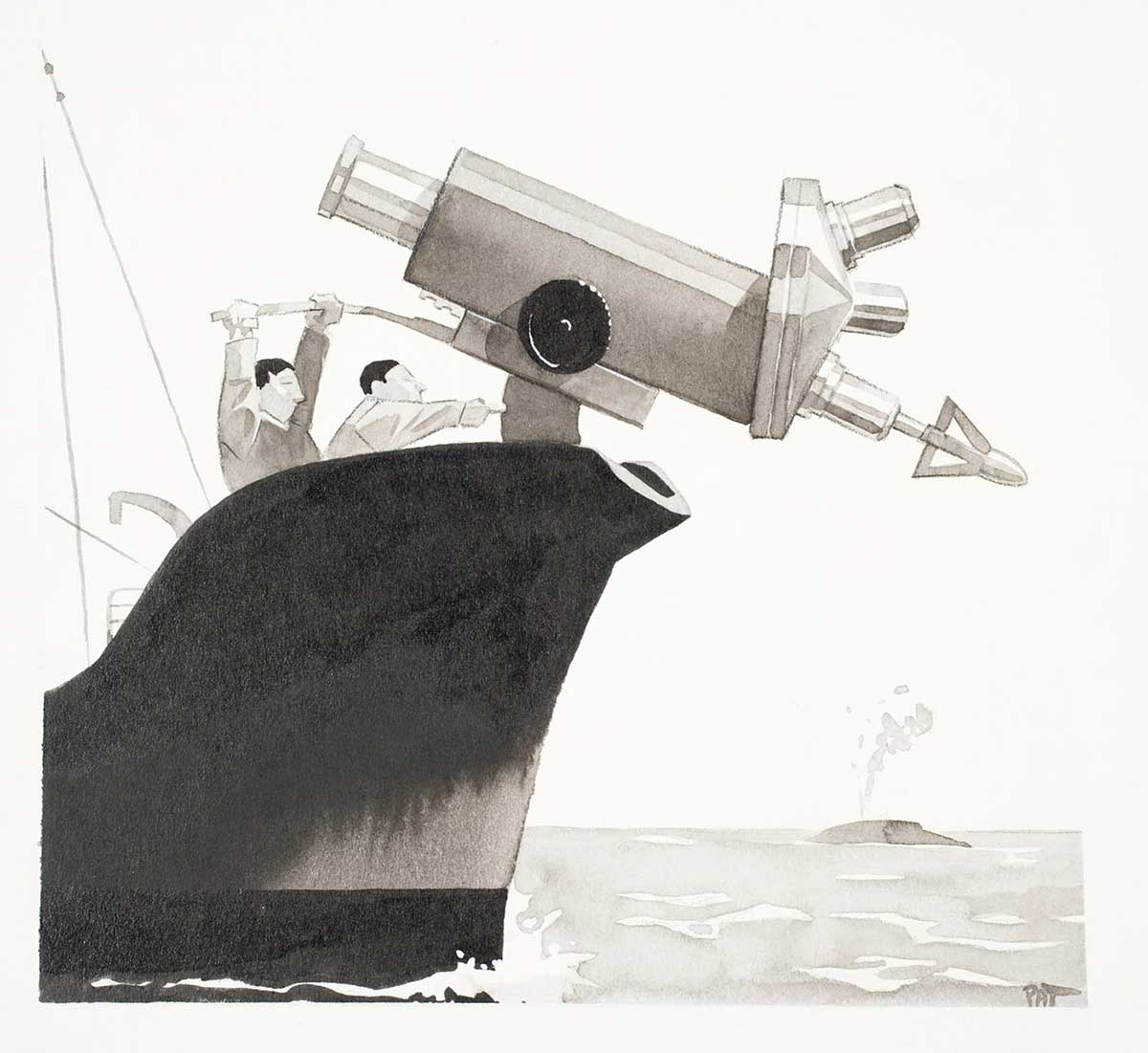Cartoon of two men on a fishing trawler with a large microscope attached to the bow of the boat with a harpoon fixed to the end of it - click to view larger image