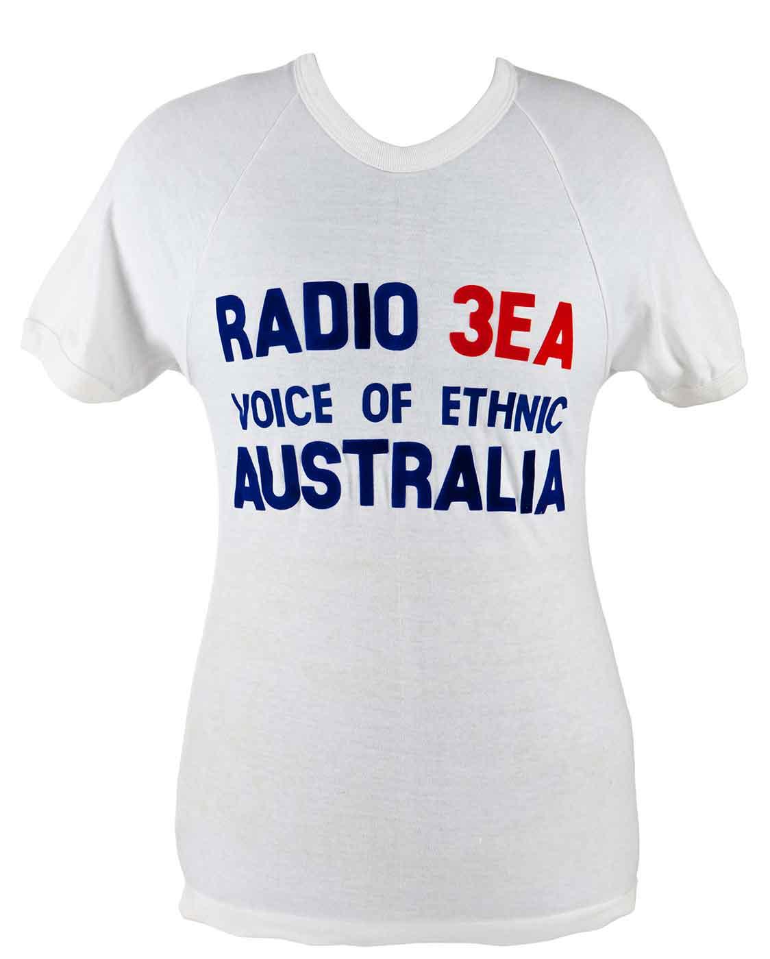 White t-shirt with the text: RADIO 3E VOICE OF ETHNIC AUSTRALIA