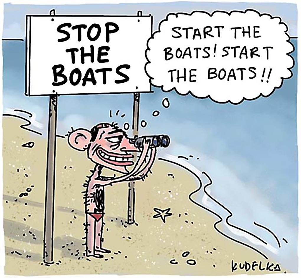 A colour cartoon depicting Tony Abbott standing on a beach. He wears red swimming trunks and looks out to sea through a pair of binoculars. He stands under a sign that says 'Stop the boats'. A thought bubble emerges from his head. In it he thinks 'Start the boats! Start the boats!' - click to view larger image