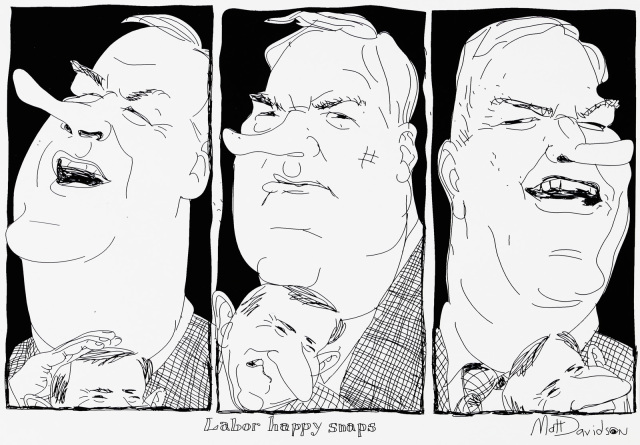 A cartoon of three pictures of Kim Beazley, with Simon Crean trying to push in from the bottom of the frame. - click to view larger image