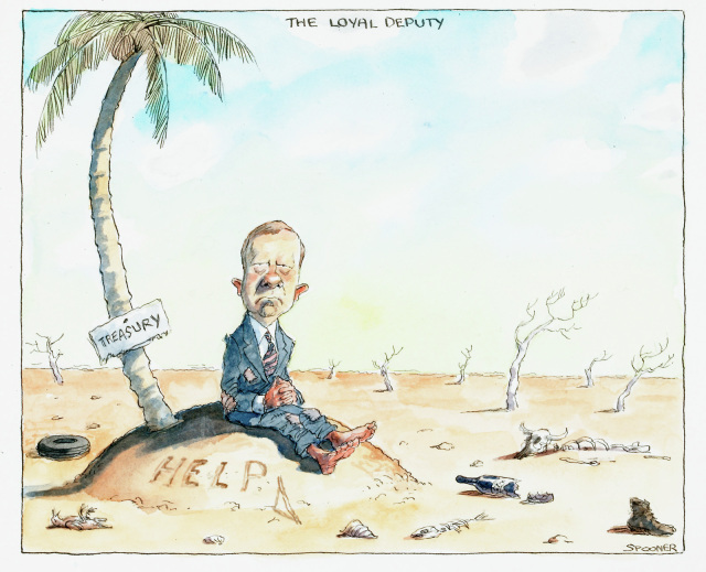 A cartoon of Peter Costello on what appears to have been a desert island, but the sea has dried up. There is a palm tree with a sign reading 'Treasury'. 'HELP' has been written in the sand. In the background are dead trees. - click to view larger image