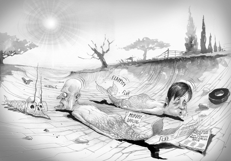 Peter Garrett and Penny Wong as mermaid style creatures lying prone in a dry riverbed, tails flapping. Penny Wong is facing right, weakly exhaling. Peter Garrett is parallel to her, facing left. He holds a piece of paper with 'Murray Darling' written on it. At his tail are three sheets of paper. The top one has 'National Resource Management Board of the South Australian Murray – Darling Basin' written on it. At the left of the image is a mermaid skeleton that suggests John Howard. A relentless sun shines down from the clear sky. - click to view larger image