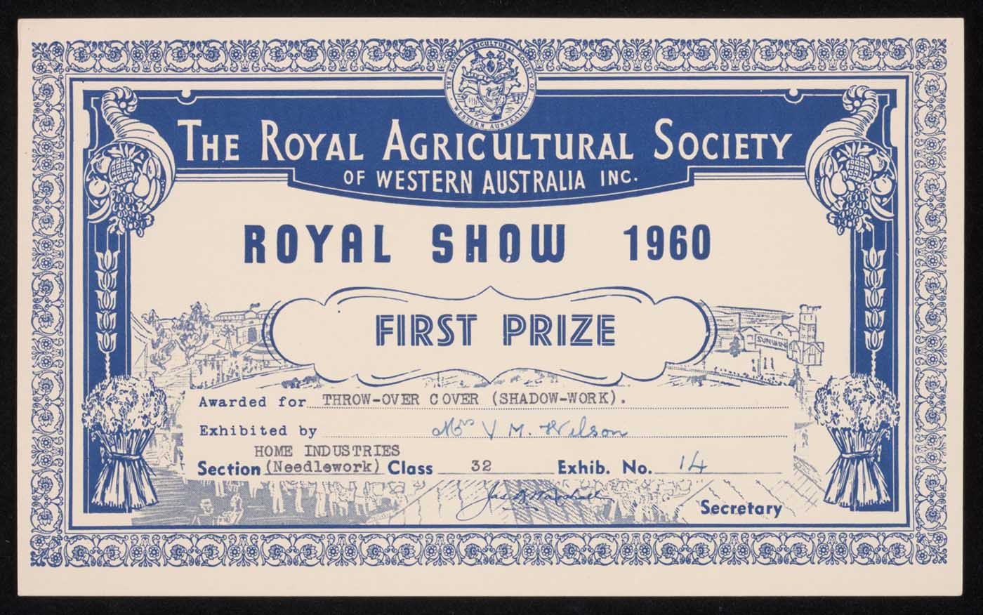 Royal Show 1960 first prize certificate
