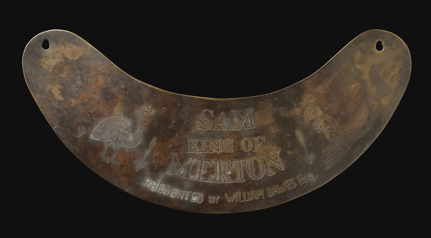 Engraved breastplate with a n image of a kangaroo and emu. - click to view larger image