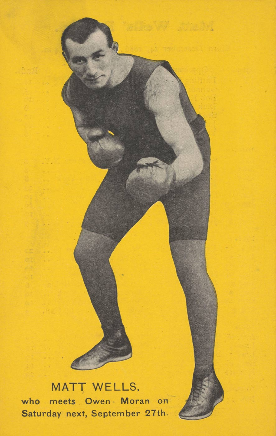 A postcard featuring a black and white photograph of a boxer in fighting pose. Yellow background. - click to view larger image