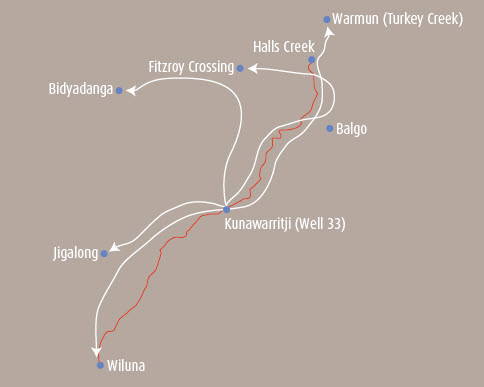 Map showing the different directions Rover Thomas and his family travelled as they moved away from the Canning Stock Route country, and the places where they settled. Places marked from top to bottom are: Warmun (Turkey Creek), Halls Creek, Fitzroy Crossing, Bidyadanga, Balgo, Junawarritji (Well 33), Jigalong, Wiluna.