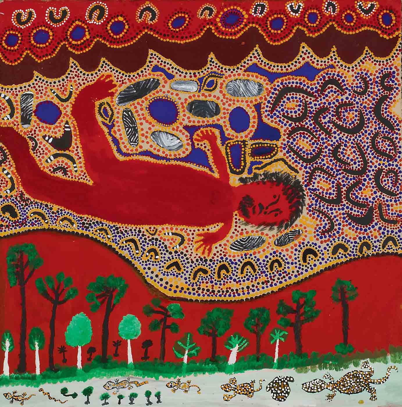 A painting on canvas with a supine human figure in red, outlined in yellow dots, with facial features in black, in the centre. The figure is surrounded by boomerang, rock and circle motifs in grey or blue on a background of blue, orange, yellow, and grey dots. There is a brown scalloped horizontal line below the figure, then underneath that a red background with dot edged blue circle and grey boomerang motifs. Above the figure is a red background with a wavy edge and trees and undergrowth in green, black and white. Above the red section is a line of reptiles including geckos covered in white and yellow spots with a few small trees. The text at the top reads 'BA/194/MM' while text at the bottom reads 'Billy Atkins 106 x 106 08-284'. - click to view larger image