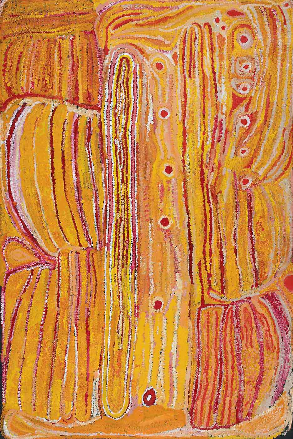 A yellow toned textured painting on brown linen with a vertical line of six small red-pink circles down the centre. Most of the painting has vertical uneven stripes in yellow with pink, dark pink and white thin lines between. The right side has a shorter line of six red circles at the top and a rectangular shape at the bottom corner with pink and orange uneven vertical stripes and a red circle above it. In the middle section next to the line of red circles is a long round ended concentric line with rows of red, yellow, white and pink inside. On the left side there is a vertical line of four joined outlined shapes with uneven stripes in them in yellow with pink, white and orange thinner lines. At the bottom edge is an apricot coloured section. - click to view larger image