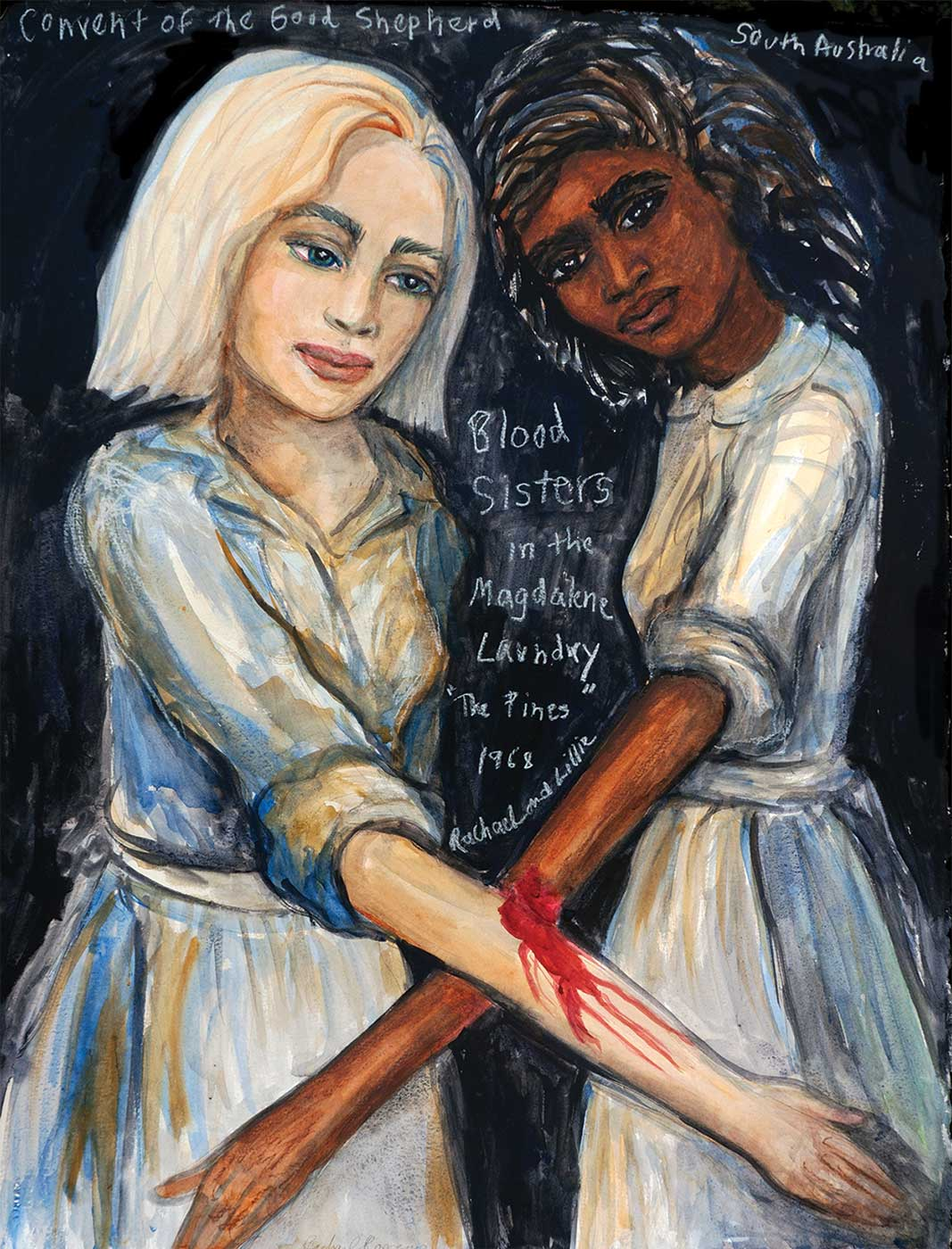 Photo of a watercolour painting depictings two girls, with extended arms, joined by blood. White handwriting at the top reads: 'Convent of the Good Shepherd, South Australia'. 'Blood Sisters / in the/ Magdalene / Laundry / The Pines / 1968 / Rachael and Lillie' is written between the girls. - click to view larger image