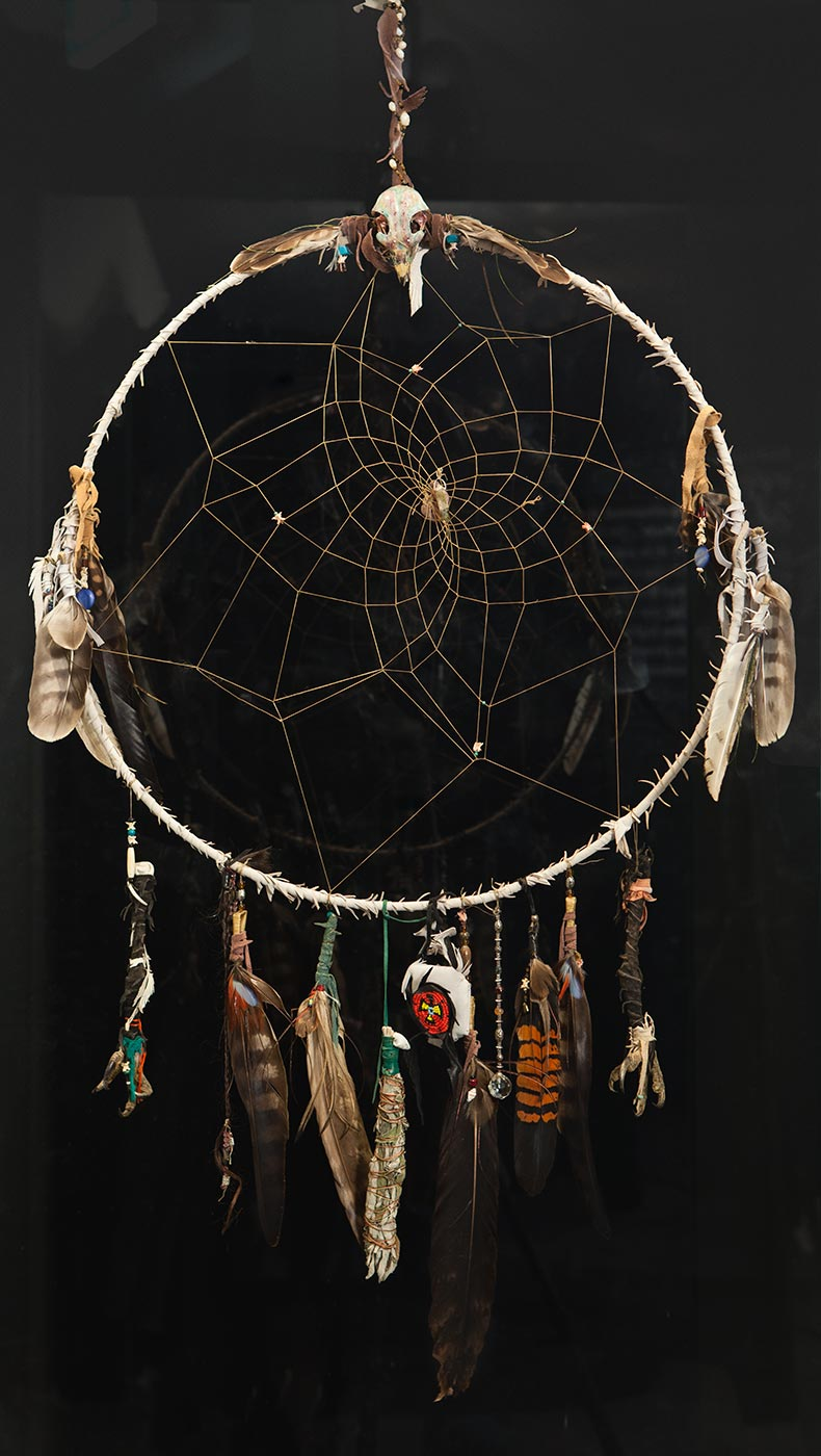 Photograph of a ciruclar dream catcher hanging in front of a dark background. Feathers hang from the bottom and sides of the main circle. A small skull sits at the top and a weblike pattern fills the centre of the circle. - click to view larger image