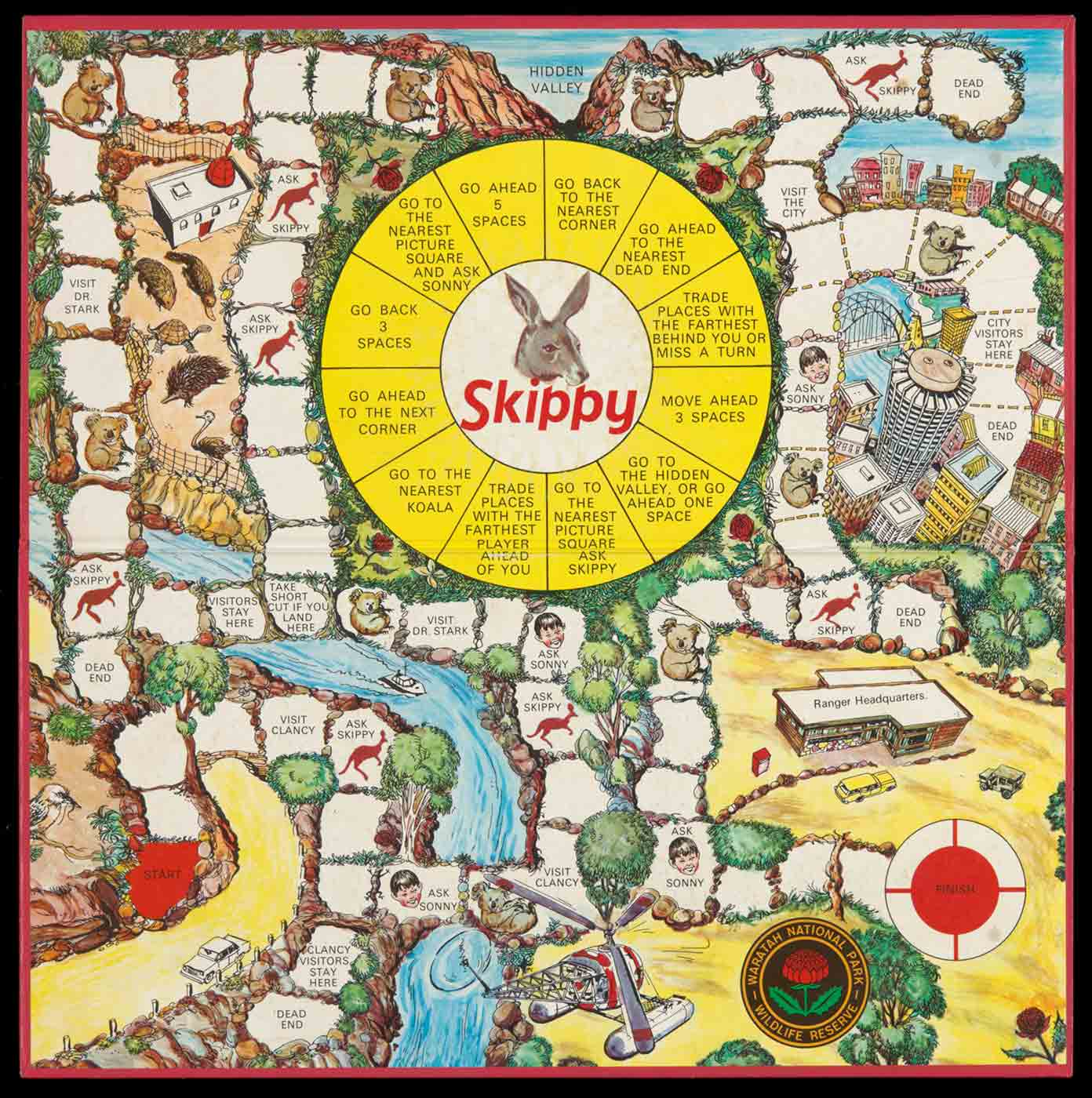 'Skippy' board game with a central image of a kangaroo and game squares set in locations including Hidden Valley and Sydney. - click to view larger image