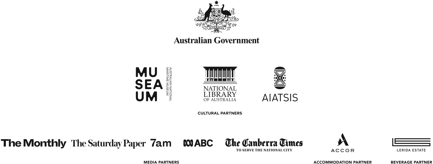 Logos, from left, for the Australian Government, The Australian National Maritime Museum, The National Library of Australia, The Australian Institute of Aboriginal and Torres Strait Islander Studies. Cultural partners: The Monthly, The Saturday Paper, 7am Media Partners, ABC, The Canberra Times. Accommodation partner: Accor. Beverage partner: Lerida Estate.