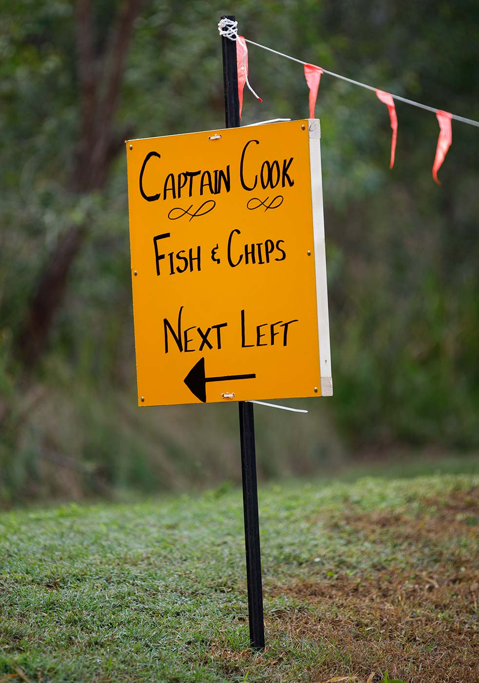 Colour photo of a yellow sign that reads 'CAPTAIN COOK / FISH AND CHIPS / NEXT LEFT'. - click to view larger image