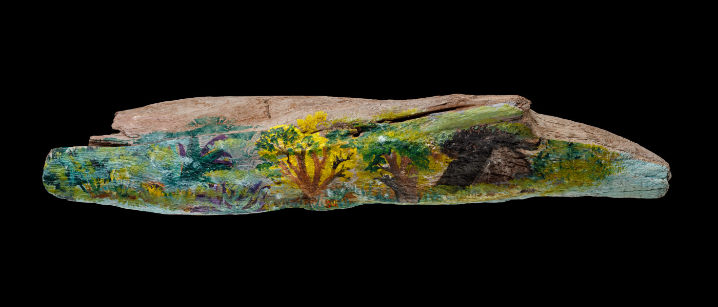 An acrylic painting on driftwood featuring coloured trees, flowers, plants and grass. - click to view larger image