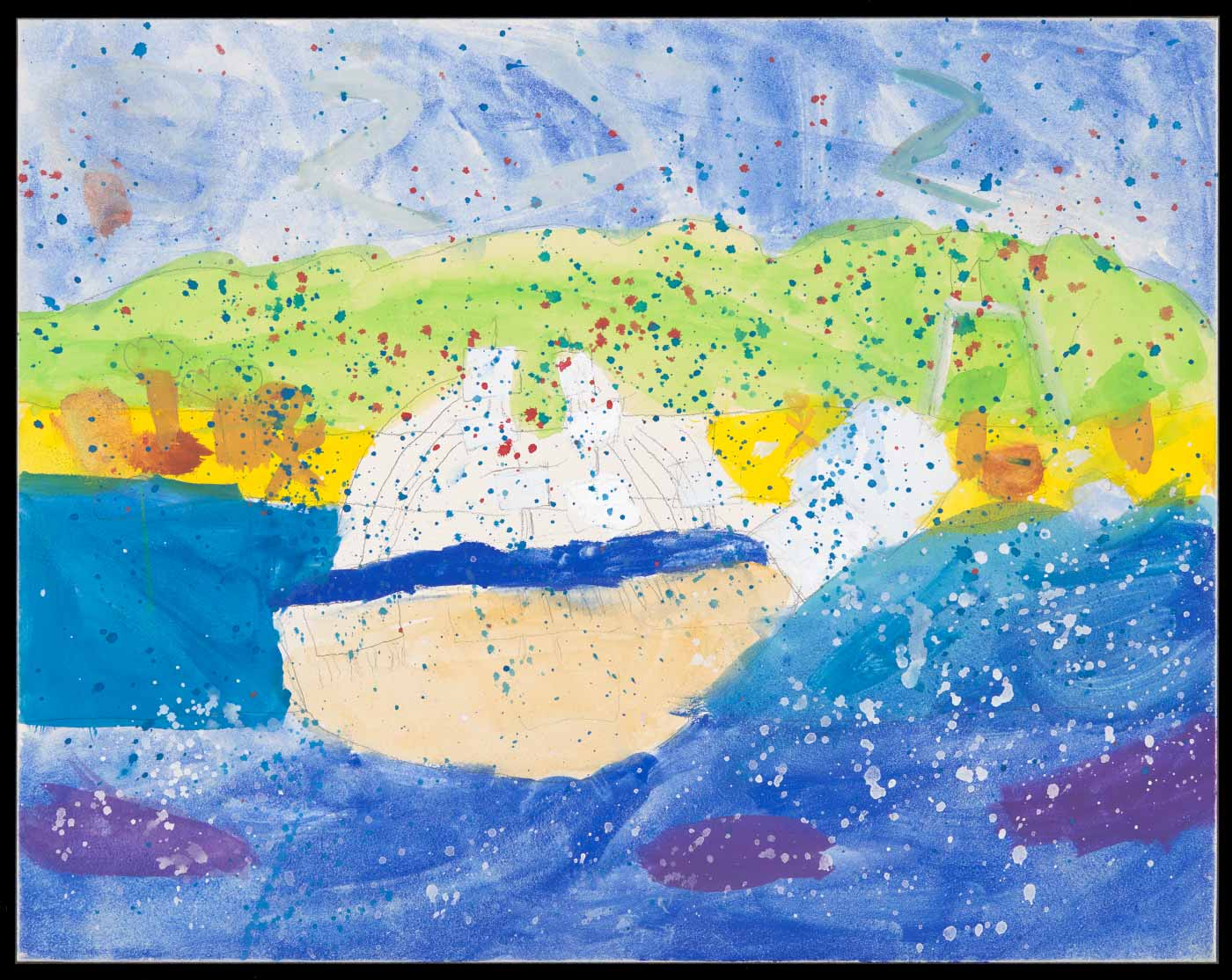 Painting on aquabord, depicting a ship on blue water with green hills and blue sky in the background. Overlaid with red, blue, and white splatters. - click to view larger image