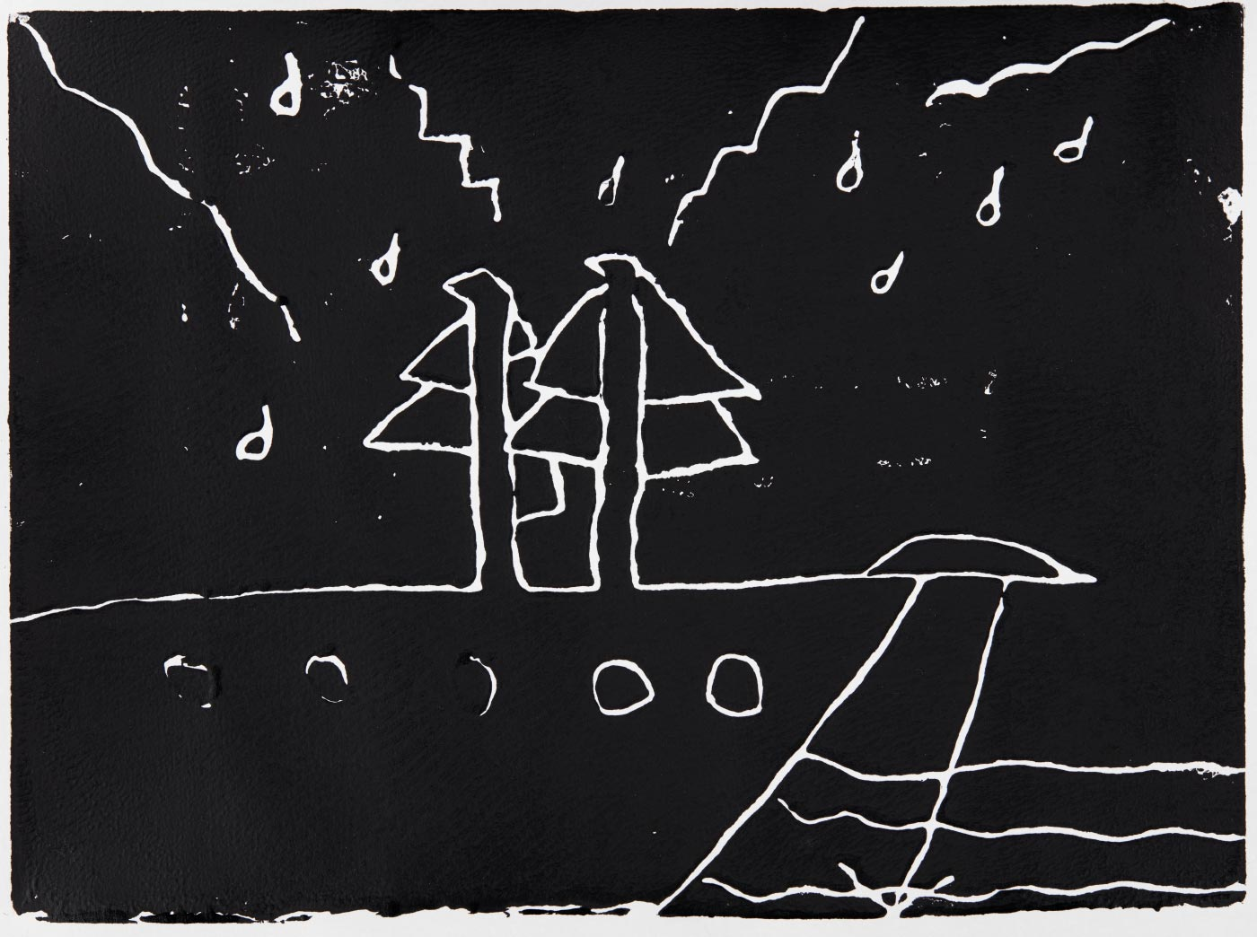 Print, black ink on white paper, depicting a sailing boat. Annotated in pencil 'Izayah'. - click to view larger image