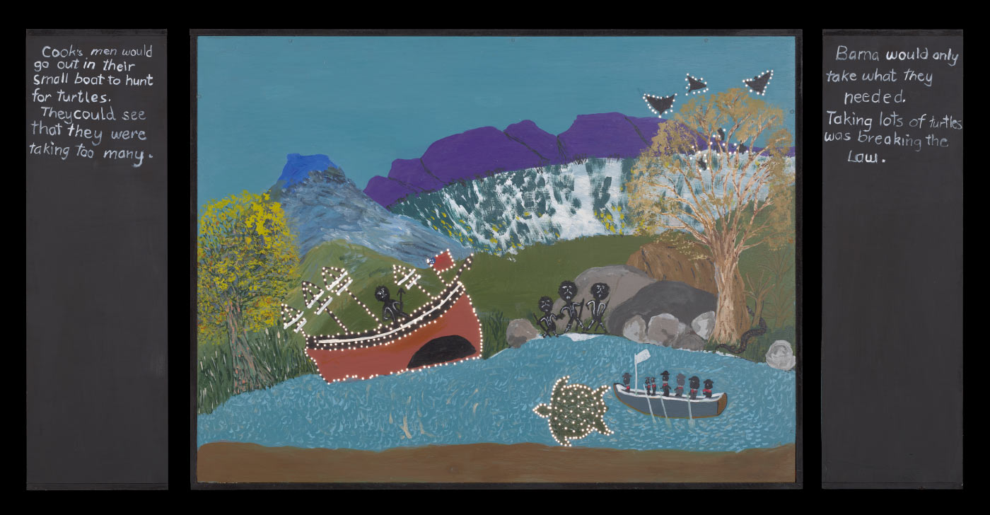 A plywood and medium density fibreboard [MDF] lightbox featuring an acrylic painting of a sail boat with an Aboriginal man on it and a canoe with seven figures in it next to a turtle in the water. A tree on the right side of the painting has three black birds or bats flying away from it. text on the left side of the box begins 'Cook's men would / go out...' and text on the right side begins 'Bama would only / take what they / needed.' Very small holes have been drilled into the painting around the prominent features. - click to view larger image