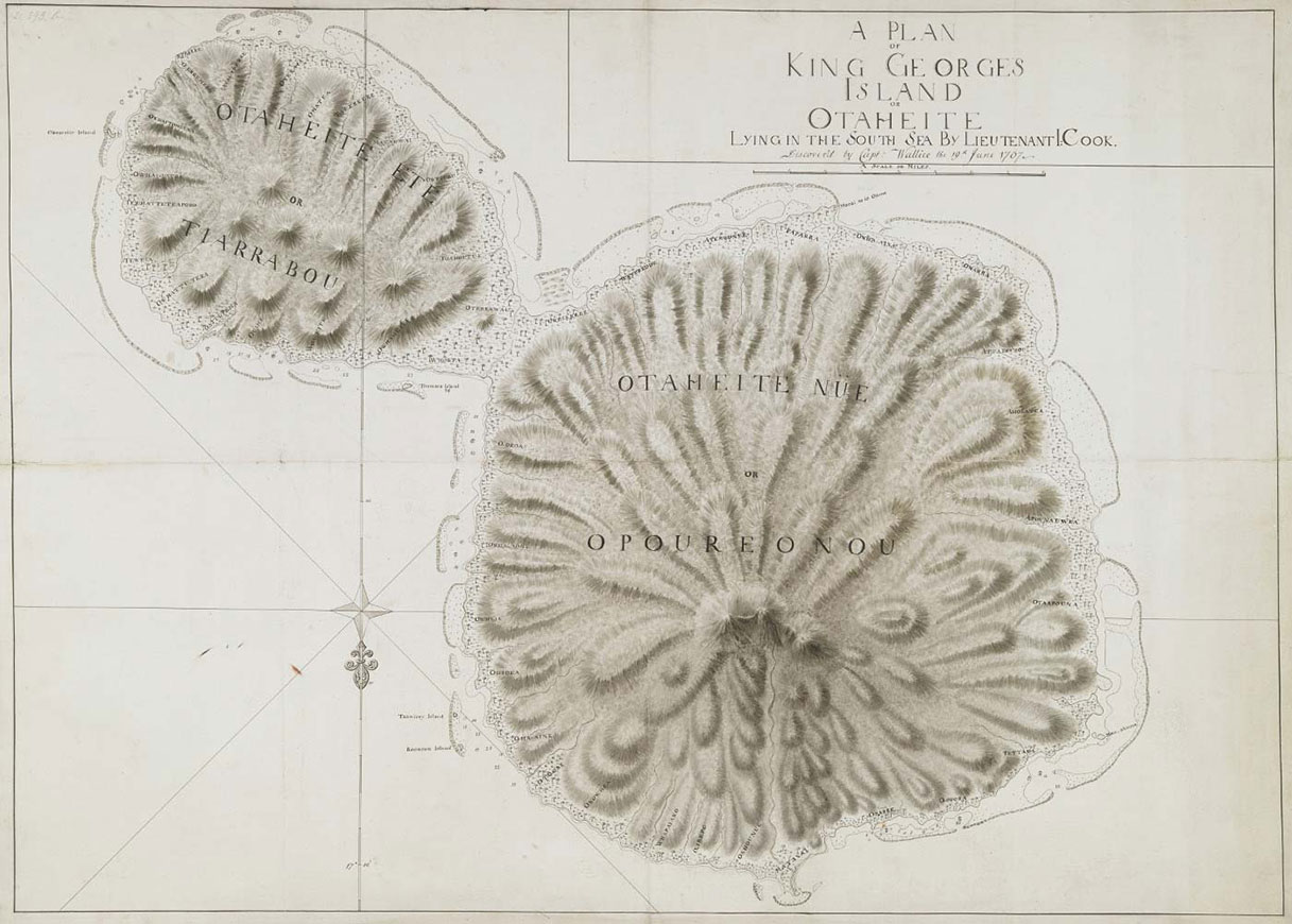 Hand-drawn map showing a large island, right, and a smaller island, top left, surrounded by smaller islands and reef. Text top right reads 'A Plan of King George's Island or Otaheite, lying in the South Sea, by Lieutenant Cook, discovered by Captain Wallace, 1707'. - click to view larger image