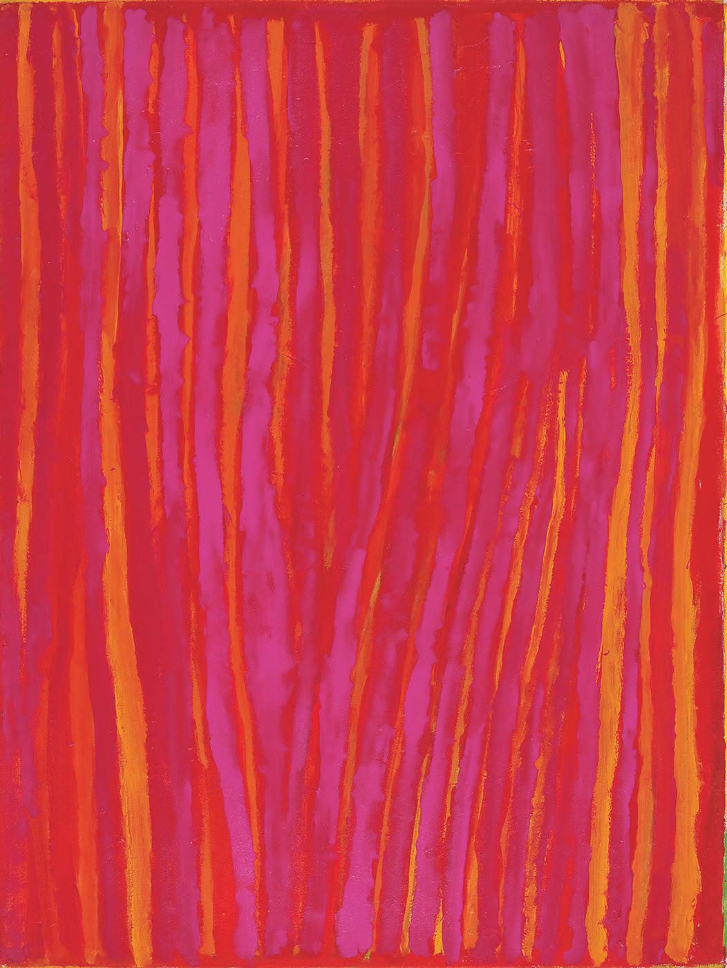 A painting on canvas with purple-pink, yellow, red and orange vertical stripes. The central section has less yellow and orange, and in the lower part the stripes are closer together and converge towards the centre bottom edge.