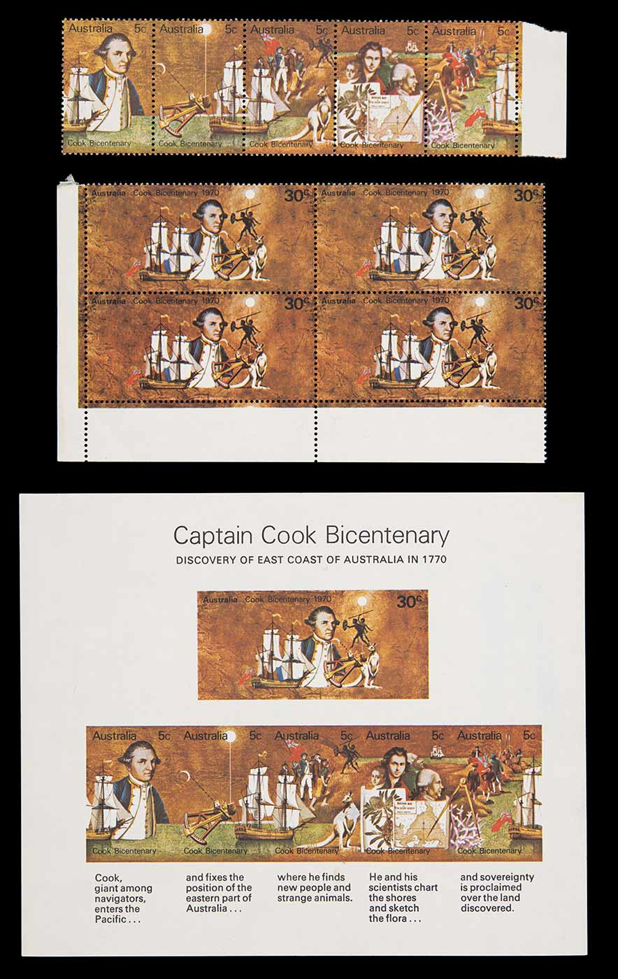 Set of stamps for the 1970 Captain Cook Bicentenary. - click to view larger image