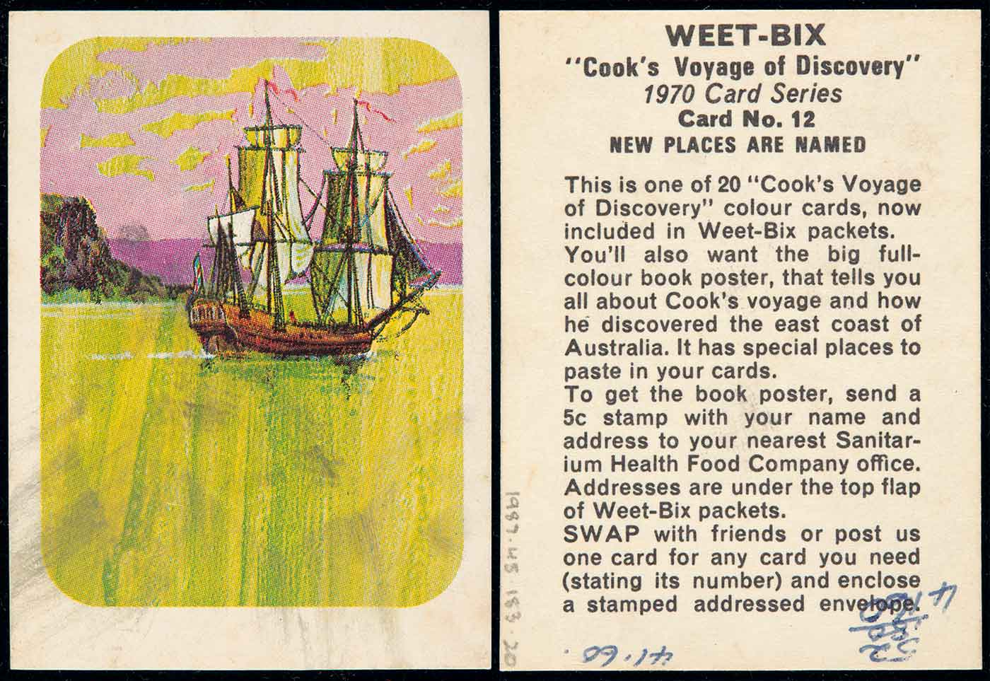 A swap card, numbered 12 in a series of 20, collected from a Weetbix cereal packet. The card features a colour illustration of a fully rigged ship sailing past a coast. The ocean is lime green and the sky is pink. Text on the reverse side of the card reads 'WEET-BIX /