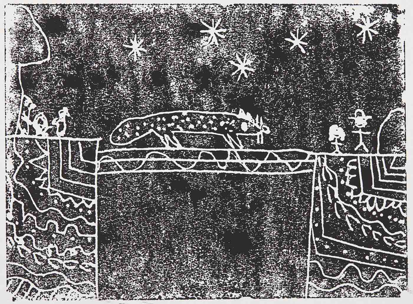 A black print on white cardboard featuring five stars across the top, a quoll walking across a bridge, two rectangular blocks either side of the bridge filled with indigenous motifs, as well as stick figures on the top. The print is titled and signed 'When the qolls come out / Evelyn. Martin.'. - click to view larger image