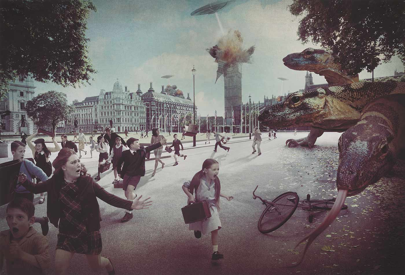 An over sized print featuring a photographic artwork depicting a flying saucer shooting big Ben, a crowd of people in 1960's attire running away toward the right of the picture, and three large lizards on the left. - click to view larger image