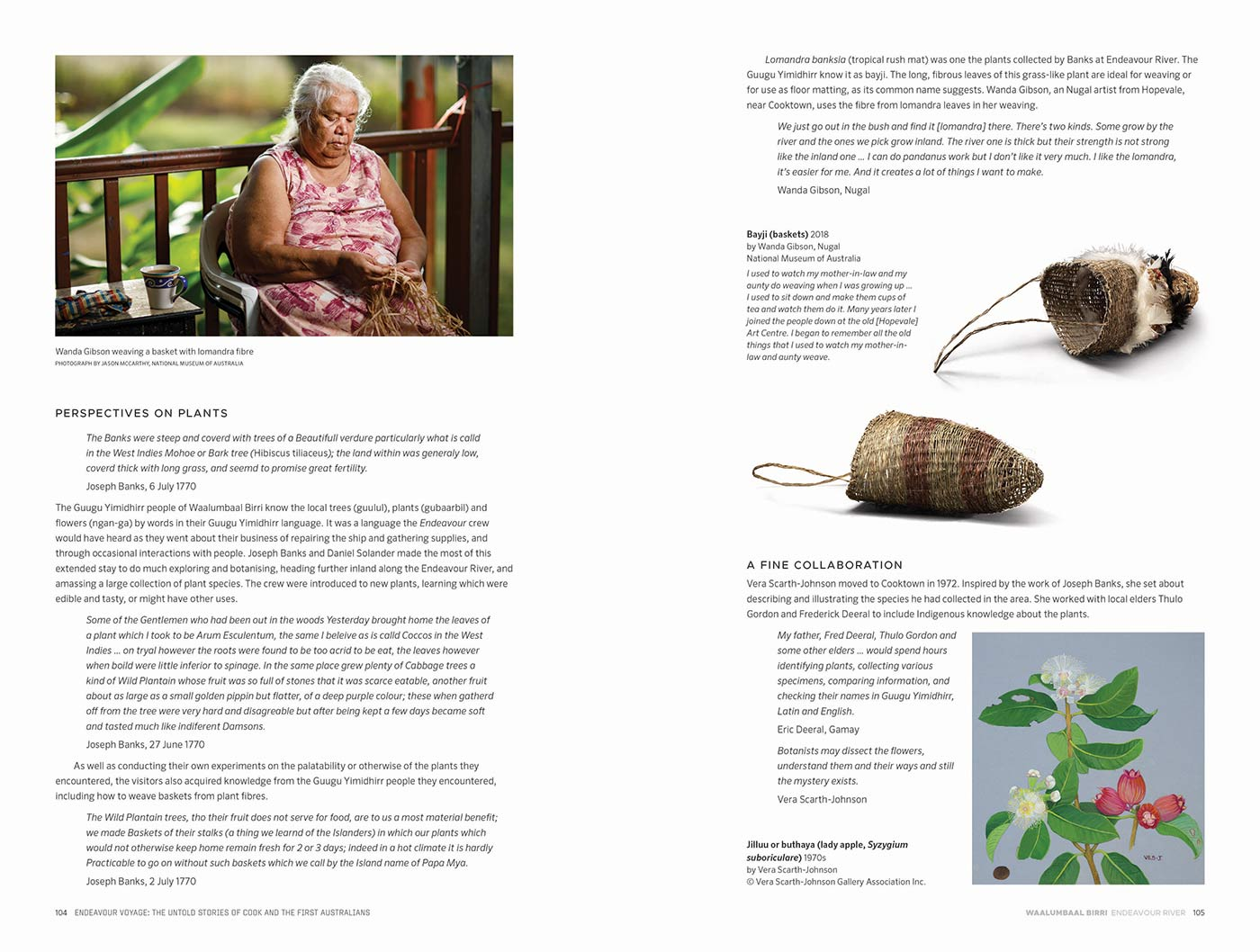 Sample page for the Endeavour Voyages: The Untold Stories of Cook and the First Australians catalogue. The page features body text, and images including a woman weaving a basket, handmade baskets and an illustration of a flowering plant species. - click to view larger image