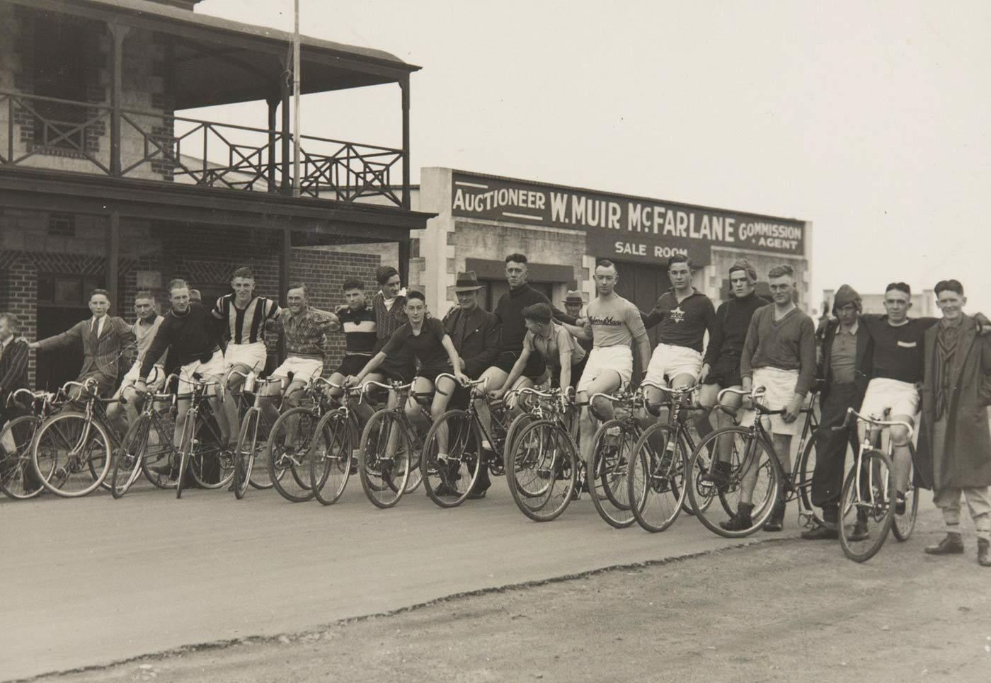 Local riders line up at the start an open race in Broken Hill, New South Wales, about 1940. - click to view larger image