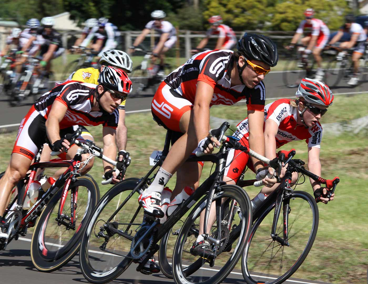 A group of cyclists racing at the Toowoomba Criterium Circuit. - click to view larger image