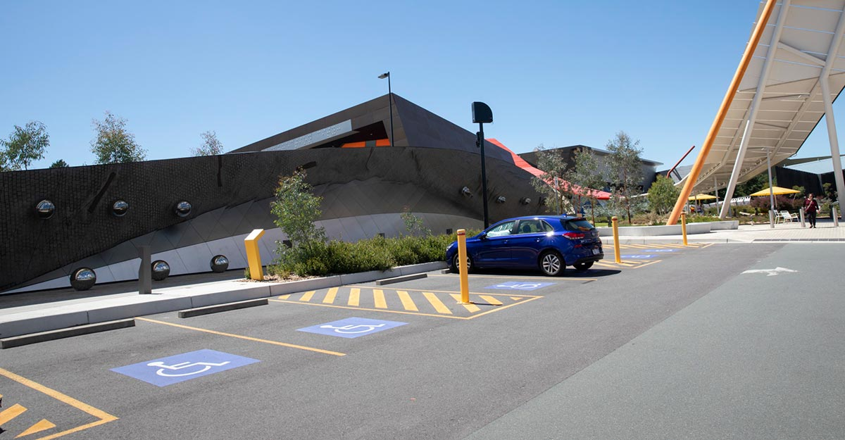 Car park with disabled parking spaces.