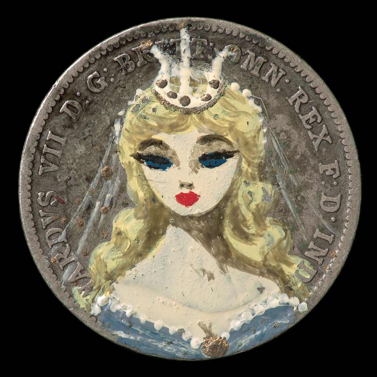 A circular, hand painted silver coloured metal coin. One face is overpainted with a head and shoulders portrait of a woman with long blond hair wearing a blue and white dress, and a crown. - click to view larger image