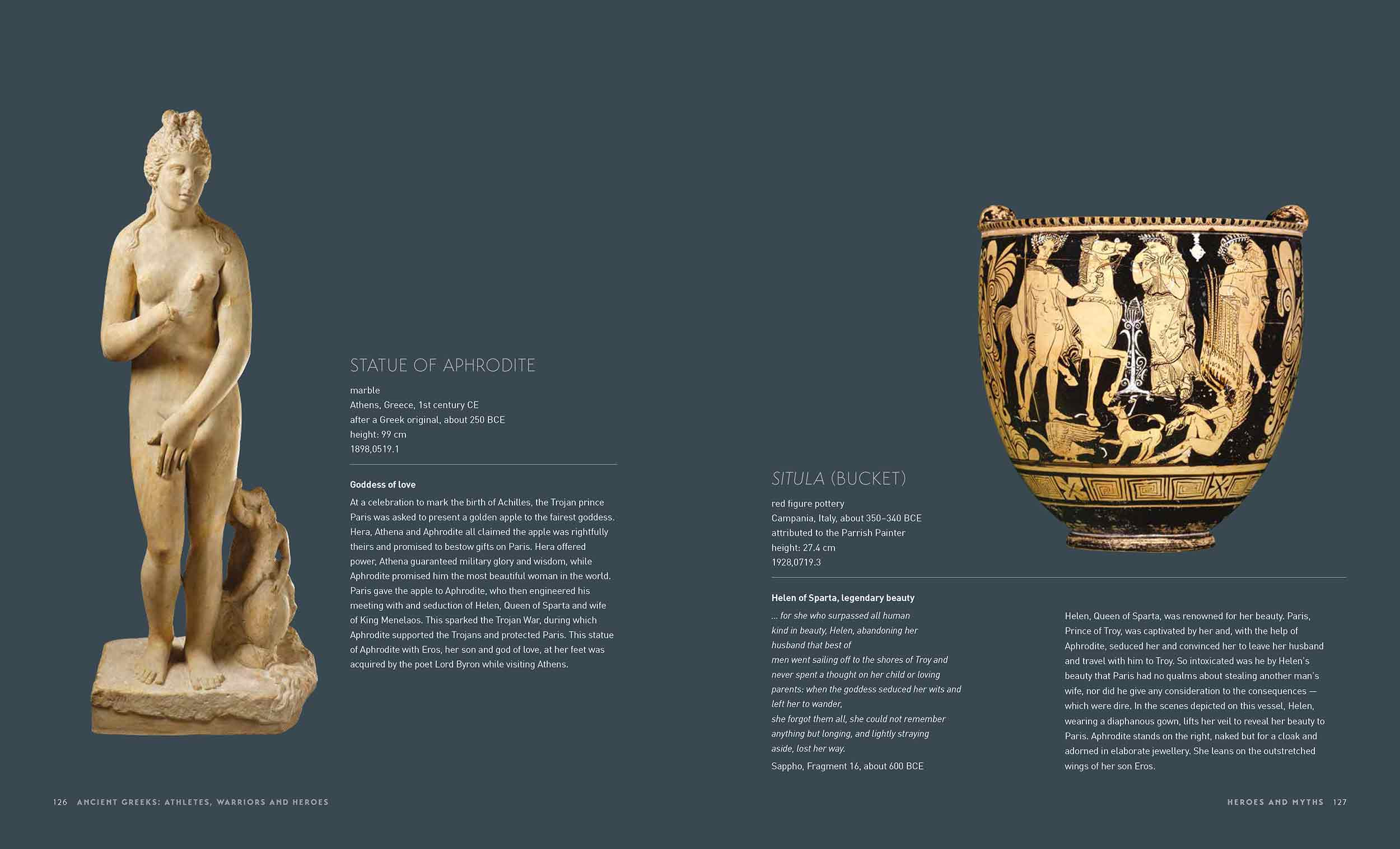 Sample page of a catalogue featuring a marble statue, a vessel and text. - click to view larger image