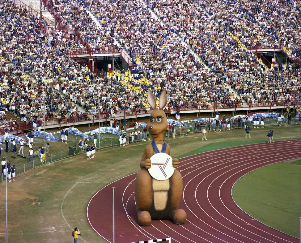 Large inflatable kangaroo mascot at a crowded stadium. - click to view larger image