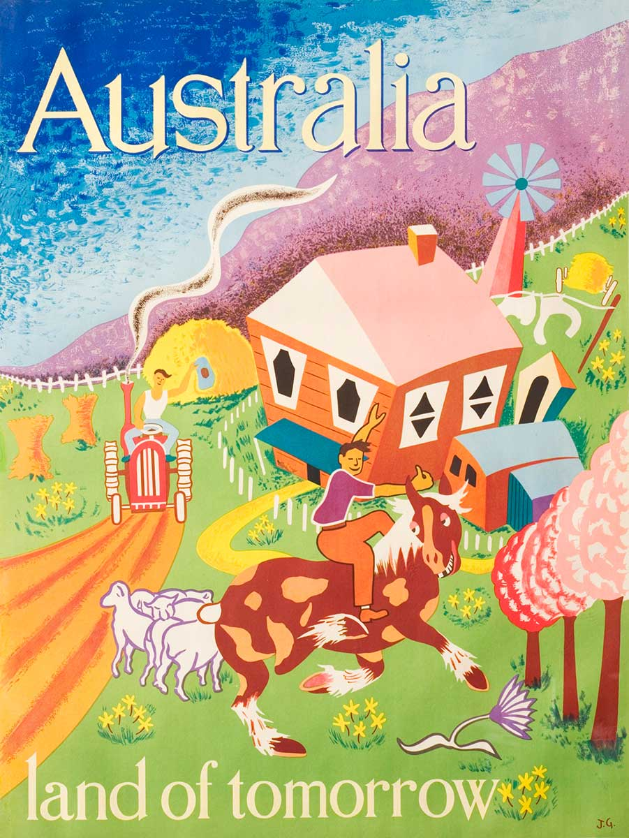 A colour lithograph poster that features a brightly coloured illustration by