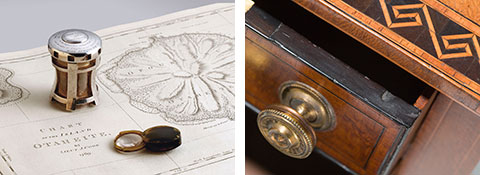 Image on left: Magnifier in silver capstan-style case on map. Image on right: Detail of a work table (top, drawer and handle) made from planks of beefwood.