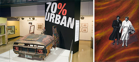 Image on left: 70% Urban exhibition banner and jeep painted with Indigenous motifs. Image on right: Artwork by Helen Tiernan featuring two Indigenous women.